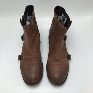 Frye Brown Leather Triple Monk Ankle Boot